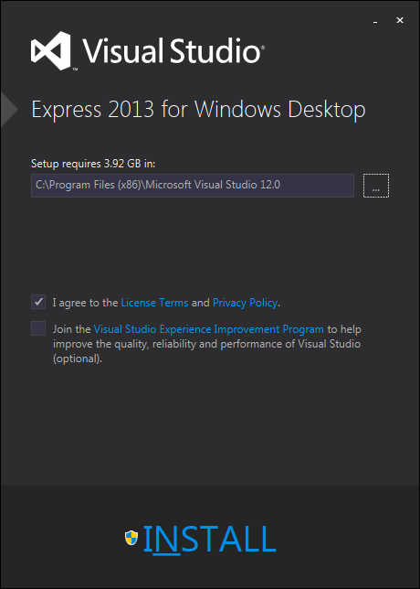 Visual Studio Express 2013 インストール1